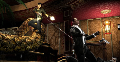 What other game can you slide down the back of a golden dragon while blasting at Hong Kong mafia flunkies?
