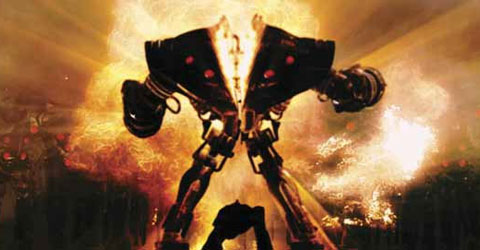 Oh My God! Did he just cut a gigantic robot in half with his bare hands? Why, yes. Yes, he did. He's just that awesome.